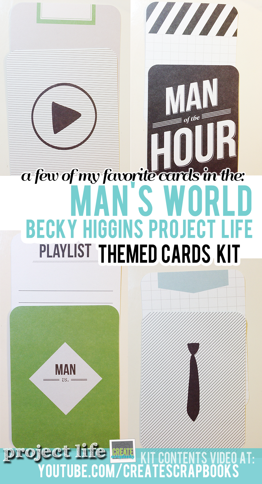CreateScrapbooks.com My favorite cards in the Project Life Man's World Themed Card Set by Becky Higgins