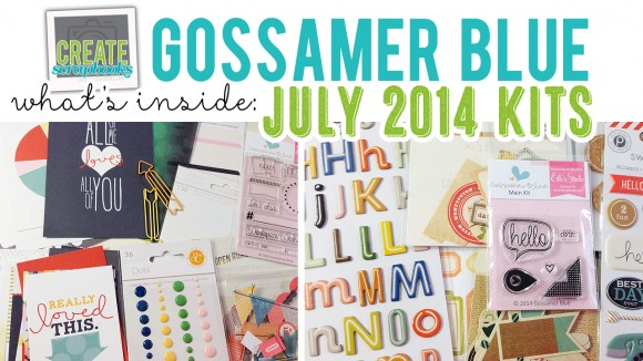 http://youtu.be/KR1LHdH6Xak - JULY 2014 - Create Scrapbooks What's Inside Video Gossamer Blue Scrapbook Kits