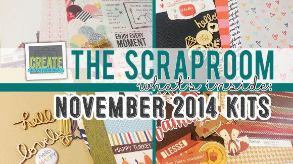 http://youtu.be/efSb0Rm-js4 NOVEMBER 2014 - Create Scrapbooks What's Inside Video featuring THE SCRAPROOM Scrapbook Kits + Project Life Kit + Add-Ons